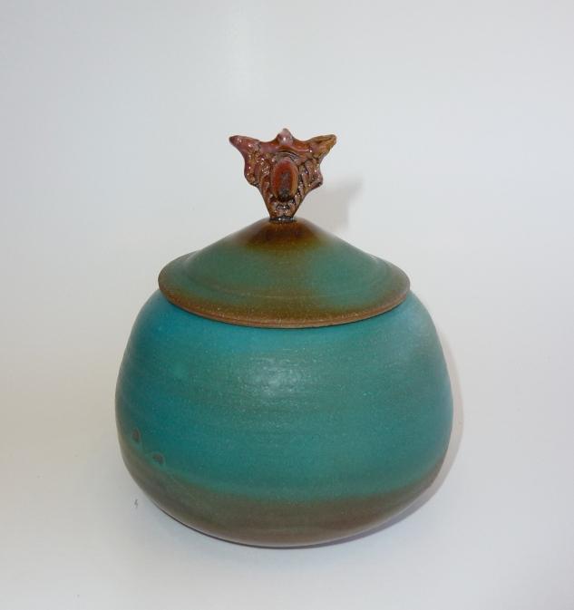 Lidded bowl-Turquoise Matte